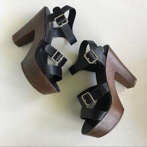 SODA Black Strap Buckle Faux Leather Heels